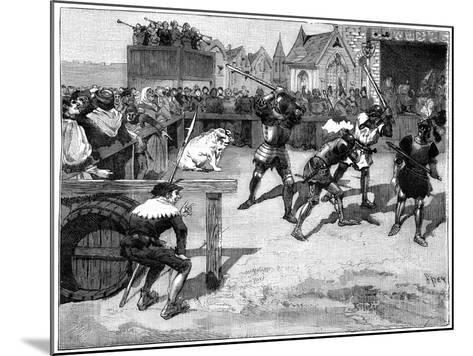 Four Blind Men Placed in a Ring to Fight a Large Pig, C14th-15th Century (1882-188)-Spex-Mounted Giclee Print