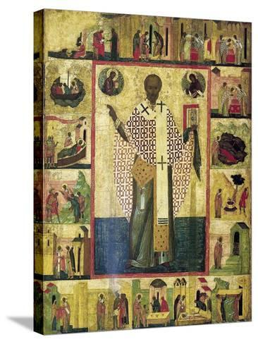 Saint Nicholas of Zaraisk with Scenes from His Life, Early 16th Century--Stretched Canvas Print