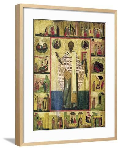 Saint Nicholas of Zaraisk with Scenes from His Life, Early 16th Century--Framed Art Print