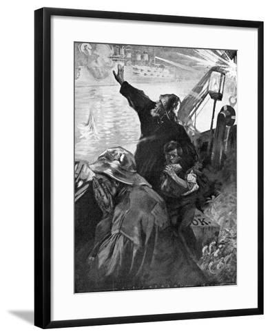 Russian Baltic Fleet Attacking Fishing Boats, Russo-Japanese War, 1904-5--Framed Art Print