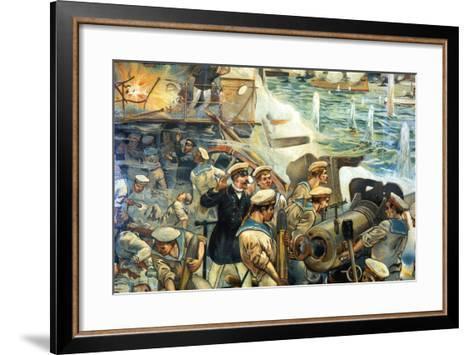 Naval Battle Between Russian and Japanese Fleets, Russo-Japanese War, 1904-5--Framed Art Print