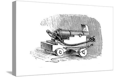 Ship Cannon on Gun Carriage, Wood Engraving, 1884--Stretched Canvas Print