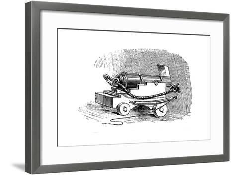 Ship Cannon on Gun Carriage, Wood Engraving, 1884--Framed Art Print