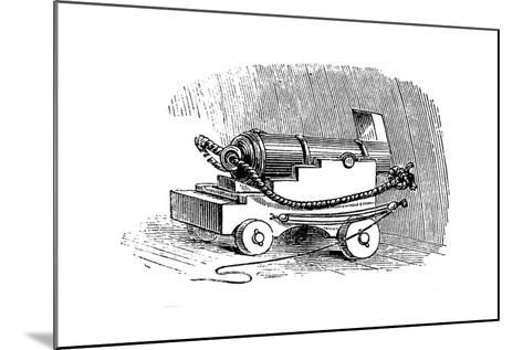 Ship Cannon on Gun Carriage, Wood Engraving, 1884--Mounted Giclee Print