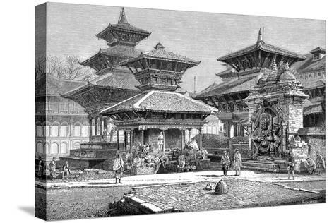 Temples Facing the Royal Place, Katmandu, Nepal, 1895--Stretched Canvas Print
