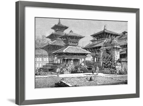 Temples Facing the Royal Place, Katmandu, Nepal, 1895--Framed Art Print