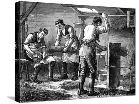 Hand-Scutchers at Work, C1880--Stretched Canvas Print