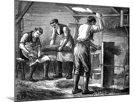 Hand-Scutchers at Work, C1880--Mounted Giclee Print