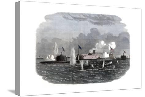 The Iron-Clad Frigate, New Ironsides, and Two Ericsson Batteries Going into Action at Charleston--Stretched Canvas Print