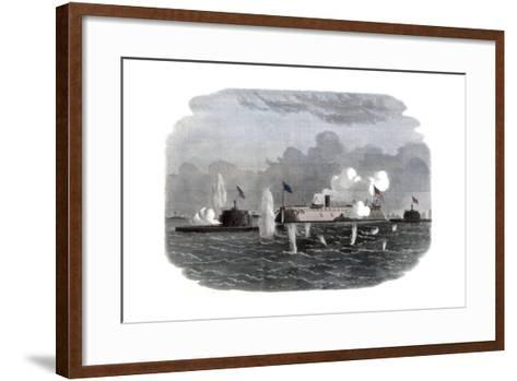 The Iron-Clad Frigate, New Ironsides, and Two Ericsson Batteries Going into Action at Charleston--Framed Art Print