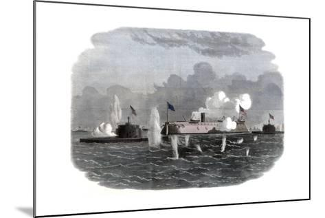 The Iron-Clad Frigate, New Ironsides, and Two Ericsson Batteries Going into Action at Charleston--Mounted Giclee Print