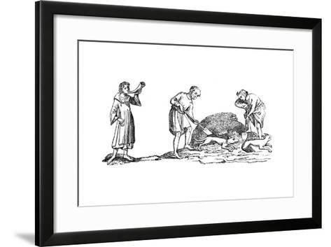 The Unearthing of a Fox, 14th Century--Framed Art Print