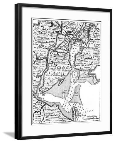 Map of New York About the Middle of the 18th Century, C1880--Framed Art Print