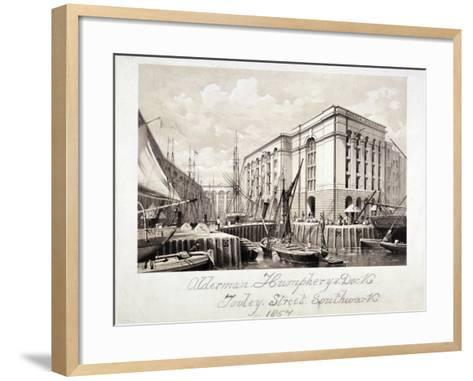 View of John Humphrey's Dock and Hay's Wharf, Tooley Street, Bermondsey, London, 1857--Framed Art Print