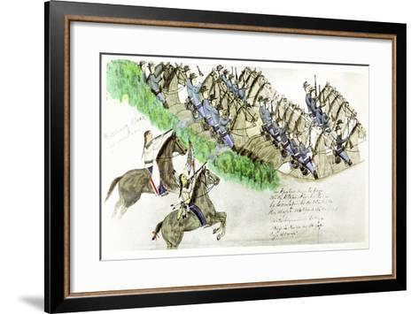 Beginning of the Battle of the Little Big Horn, Montana, USA, June 1876--Framed Art Print