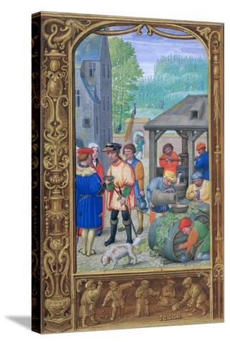October, Wine-Making, Early 16th Century--Stretched Canvas Print
