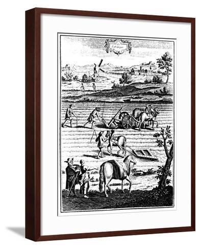 Ploughing and Harrowing with Horses and Sowing Seed Broadcast, 1762--Framed Art Print