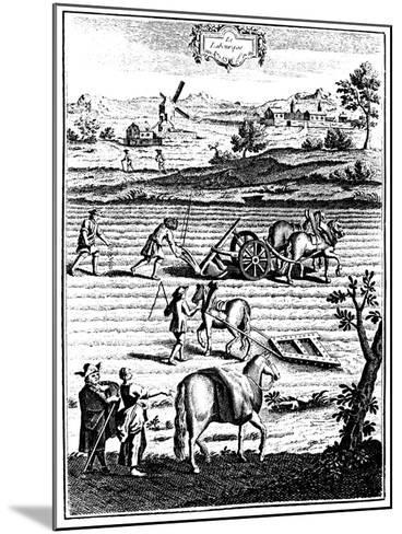 Ploughing and Harrowing with Horses and Sowing Seed Broadcast, 1762--Mounted Giclee Print