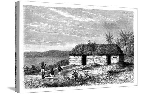Hut at the Edge of Lake Tanganyika, Congo, 19th Century- Lavielle-Stretched Canvas Print
