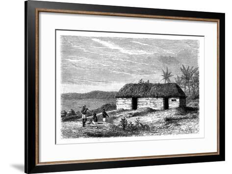 Hut at the Edge of Lake Tanganyika, Congo, 19th Century- Lavielle-Framed Art Print