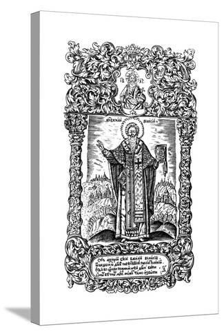 Saint Basil the Great. Illustration to the Book Synodicon, 1700-Leonti Bunin-Stretched Canvas Print