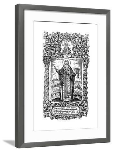 Saint Basil the Great. Illustration to the Book Synodicon, 1700-Leonti Bunin-Framed Art Print