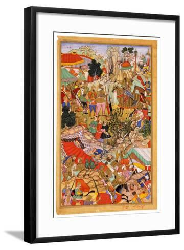 Tayang Khan Presented with the Head of the Mongol Leader Ong Khan, C. 1596- Miskina-Framed Art Print