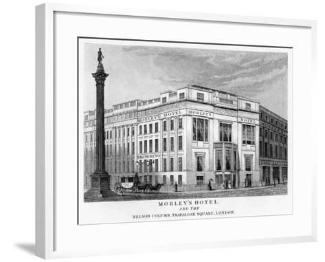 Morley's Hotel and Nelson's Column, Trafalgar Square, Westminster, London, 19th Century--Framed Art Print