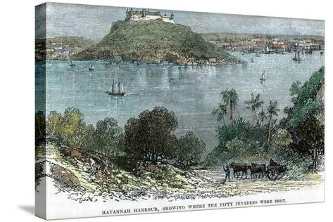 Havannah Harbour, Showing Where the Fifty Invaders Were Shot, Cuba, C1880--Stretched Canvas Print