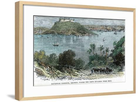 Havannah Harbour, Showing Where the Fifty Invaders Were Shot, Cuba, C1880--Framed Art Print