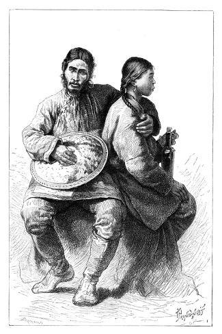 Portrait of a Gold (Nana) Couple, 1895--Stretched Canvas Print