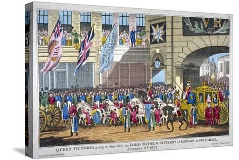 Royal Procession Passing Temple Bar, London, 1837--Stretched Canvas Print