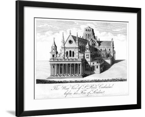 The West View of St Paul's Cathedral before the Fire of London--Framed Art Print