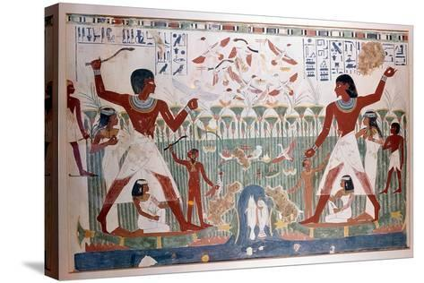 Ancient Egyptians Hunting Wildfowl with Throwing Sticks--Stretched Canvas Print