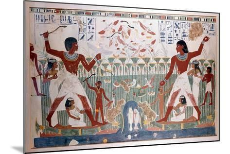 Ancient Egyptians Hunting Wildfowl with Throwing Sticks--Mounted Giclee Print