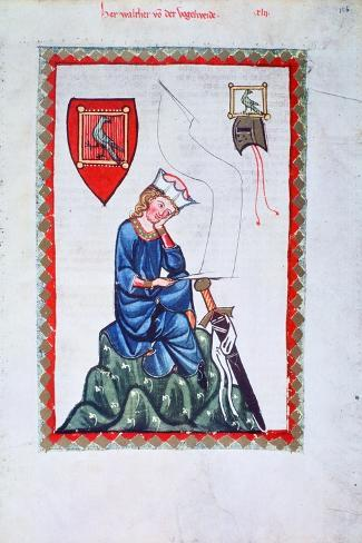 Walther Von Der Vogelweide, 1304-1340--Stretched Canvas Print