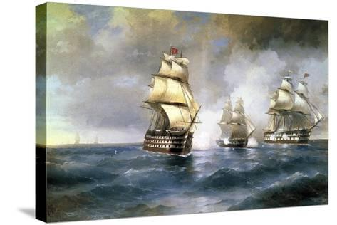 Brig Mercury Attacked by Two Turkish Ships on May 14th, 1829, 1892-Ivan Konstantinovich Aivazovsky-Stretched Canvas Print
