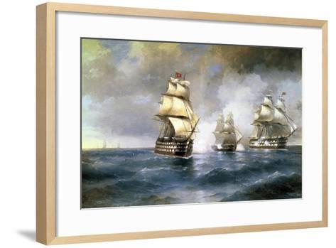 Brig Mercury Attacked by Two Turkish Ships on May 14th, 1829, 1892-Ivan Konstantinovich Aivazovsky-Framed Art Print