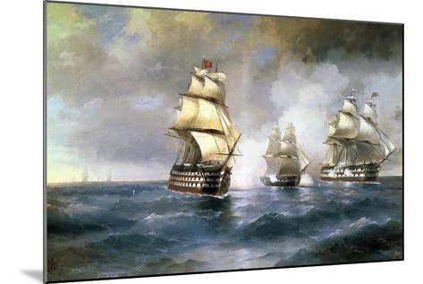 Brig Mercury Attacked by Two Turkish Ships on May 14th, 1829, 1892-Ivan Konstantinovich Aivazovsky-Mounted Giclee Print
