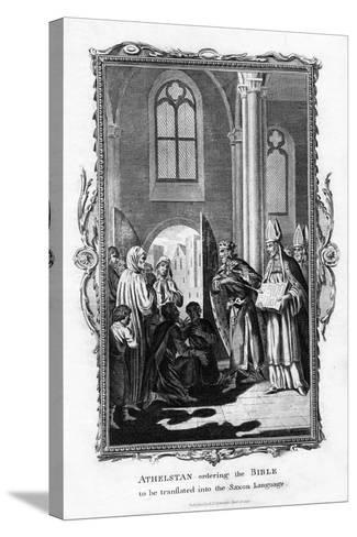 Athelstan Ordering the Bible to Be Translated into the Saxon Language--Stretched Canvas Print