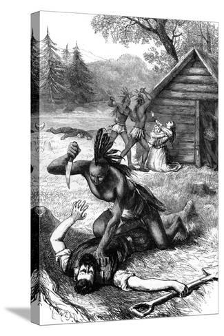 Massacre of Settlers by Native Americans, C17th Century--Stretched Canvas Print
