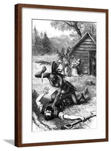 Massacre of Settlers by Native Americans, C17th Century--Framed Art Print