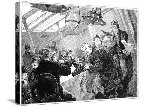 Dinner Time in the First Class Dining Saloon of an Atlantic Steamer on a Stormy Day, C1890--Stretched Canvas Print
