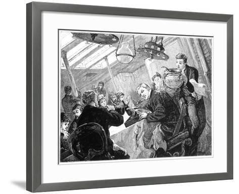 Dinner Time in the First Class Dining Saloon of an Atlantic Steamer on a Stormy Day, C1890--Framed Art Print