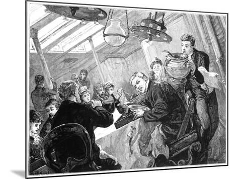 Dinner Time in the First Class Dining Saloon of an Atlantic Steamer on a Stormy Day, C1890--Mounted Giclee Print