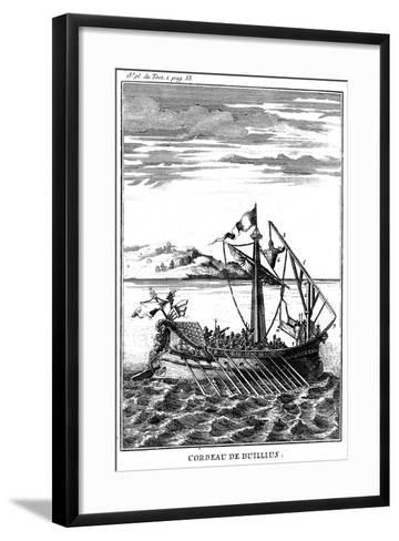 Roman War Galley Equipped with a Corvus (Righ), 18th Century--Framed Art Print