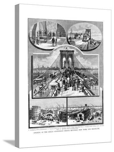 Brooklyn Suspension Bridge, New York, 1883--Stretched Canvas Print