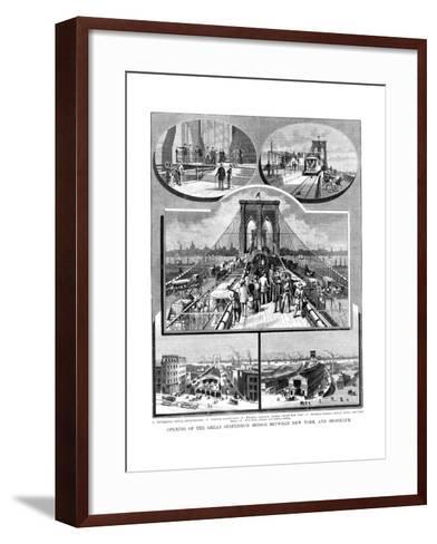 Brooklyn Suspension Bridge, New York, 1883--Framed Art Print