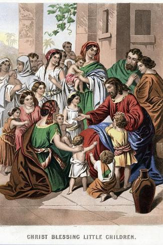 Christ Blessing Little Children, Mid 19th Century-Kronheim & Co-Stretched Canvas Print