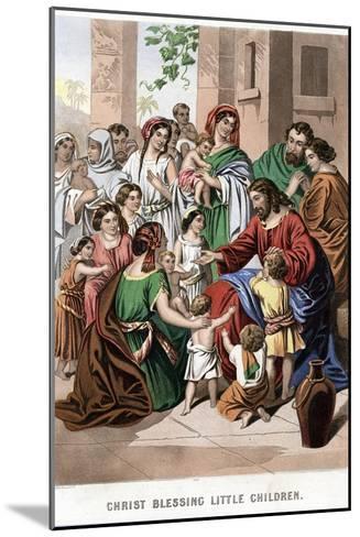 Christ Blessing Little Children, Mid 19th Century-Kronheim & Co-Mounted Giclee Print